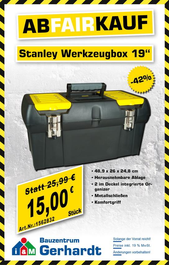 stanley, werkzeugbox, 19 zoll, günstig, restposten, abverkauf, 1-92-066