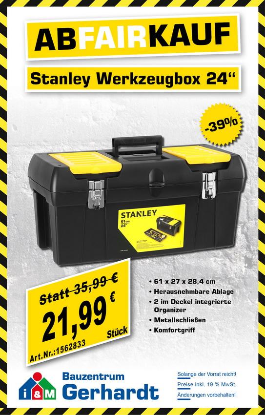 stanley, werkzeugbox, 24 zoll, günstig, restposten, abverkauf, 1-92-067